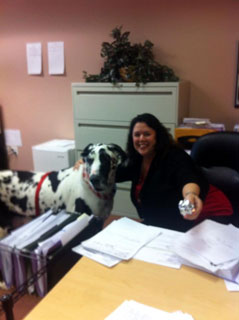 Norma Hoag with Harley the therapy dog